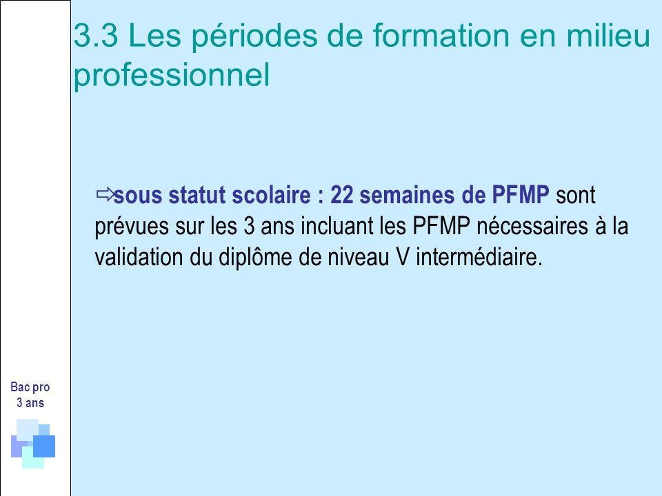 sous statut scolaire : 22 semaines de PFMP sont prévues sur les 3 ans incluant les PFMP nécessaires à la validation du diplôme de niveau V intermédiai