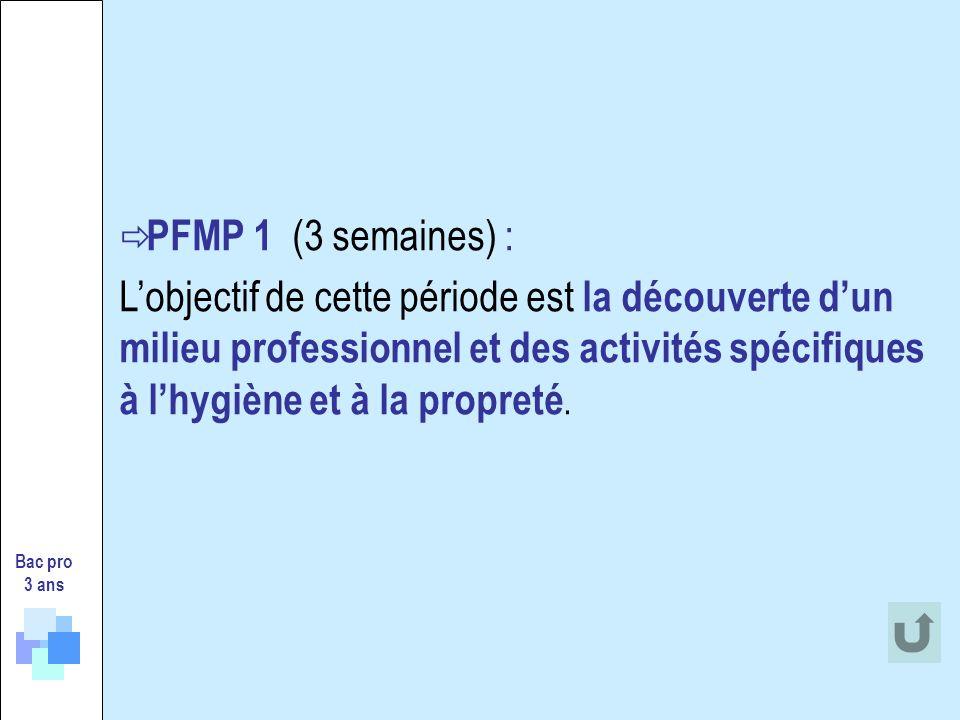 PFMP 1 (3 semaines) : Lobjectif de cette période est la découverte dun milieu professionnel et des activités spécifiques à lhygiène et à la propreté.