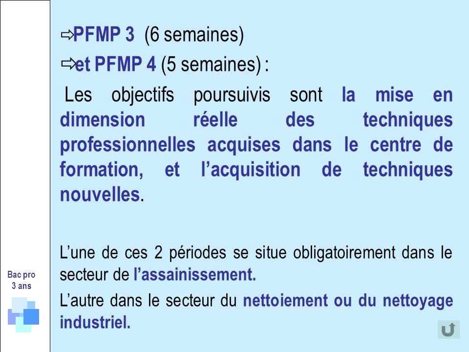 PFMP 3 (6 semaines) et PFMP 4 (5 semaines) : Les objectifs poursuivis sont la mise en dimension réelle des techniques professionnelles acquises dans l