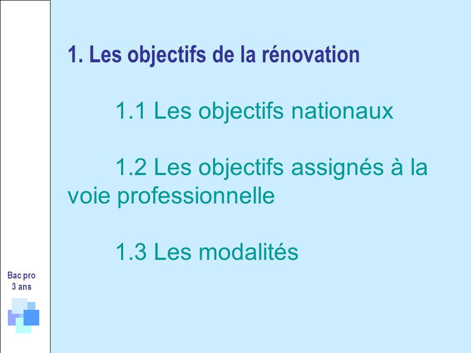 Bac pro 3 ans 1. Les objectifs de la rénovation 1.1 Les objectifs nationaux 1.2 Les objectifs assignés à la voie professionnelle 1.3 Les modalités