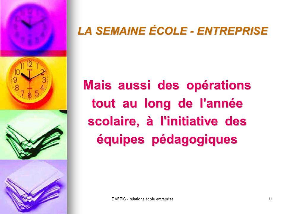 DAFPIC - relations école entreprise11 LA SEMAINE ÉCOLE - ENTREPRISE Mais aussi des opérations tout au long de l année scolaire, à l initiative des équipes pédagogiques