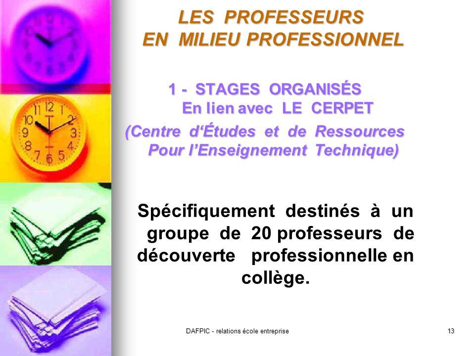 DAFPIC - relations école entreprise13 1 - STAGES ORGANISÉS En lien avec LE CERPET (Centre dÉtudes et de Ressources Pour lEnseignement Technique) Spécifiquement destinés à un groupe de 20 professeurs de découverte professionnelle en collège.
