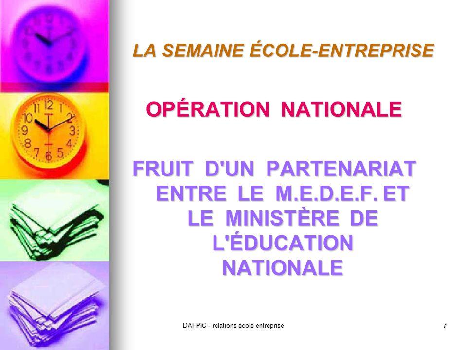 DAFPIC - relations école entreprise7 LA SEMAINE ÉCOLE-ENTREPRISE OPÉRATION NATIONALE FRUIT D UN PARTENARIAT ENTRE LE M.E.D.E.F.