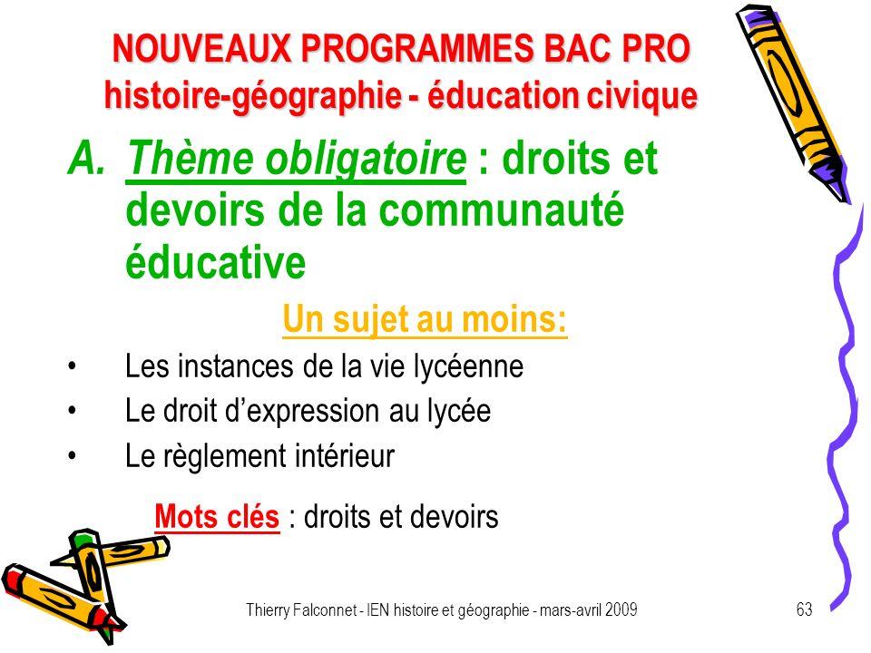 NOUVEAUX PROGRAMMES BAC PRO histoire-géographie - éducation civique Thierry Falconnet - IEN histoire et géographie - mars-avril 200963 A.Thème obligat