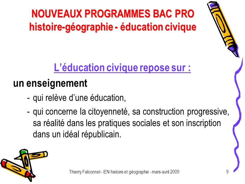 NOUVEAUX PROGRAMMES BAC PRO histoire-géographie - éducation civique Thierry Falconnet - IEN histoire et géographie - mars-avril 20099 Léducation civiq