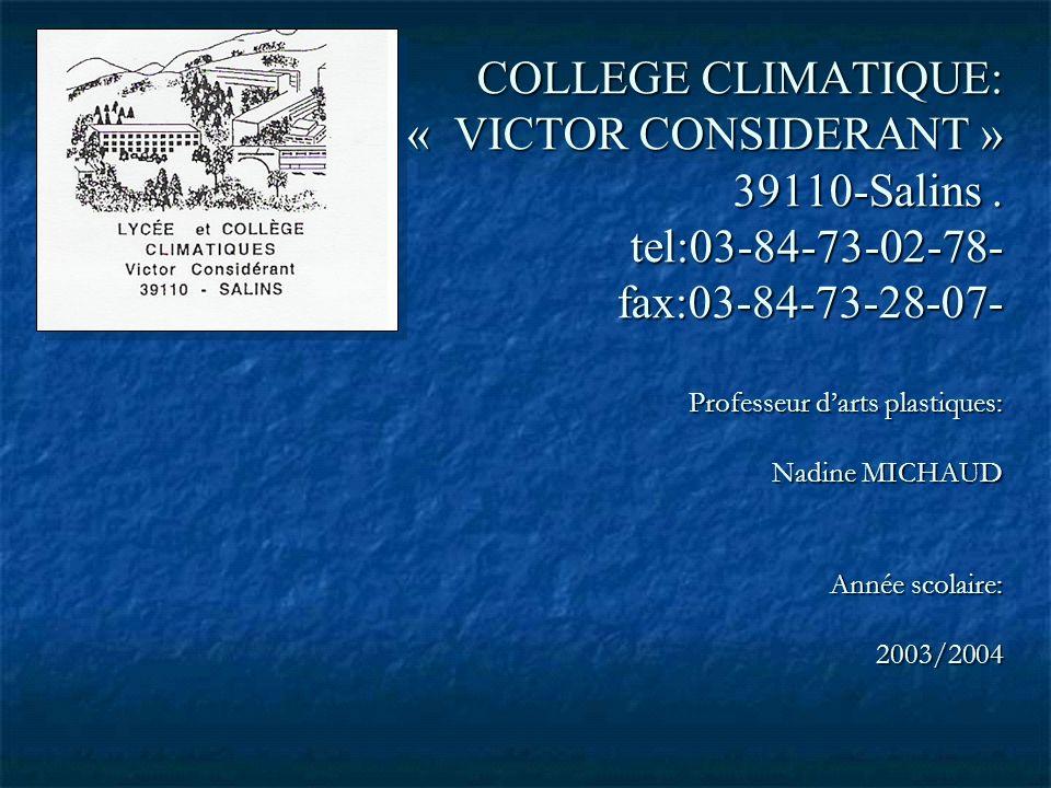 COLLEGE CLIMATIQUE: « VICTOR CONSIDERANT » 39110-Salins. tel:03-84-73-02-78- fax:03-84-73-28-07- Professeur darts plastiques: Nadine MICHAUD Année sco