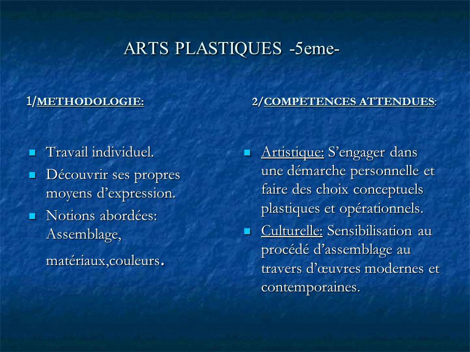 ARTS PLASTIQUES -5eme- 1/ METHODOLOGIE: 2/COMPETENCES ATTENDUES: Travail individuel. Travail individuel. Découvrir ses propres moyens dexpression. Déc