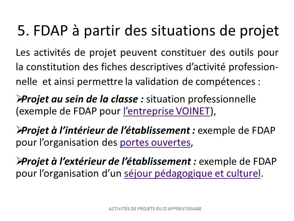 5. FDAP à partir des situations de projet Les activités de projet peuvent constituer des outils pour la constitution des fiches descriptives dactivité