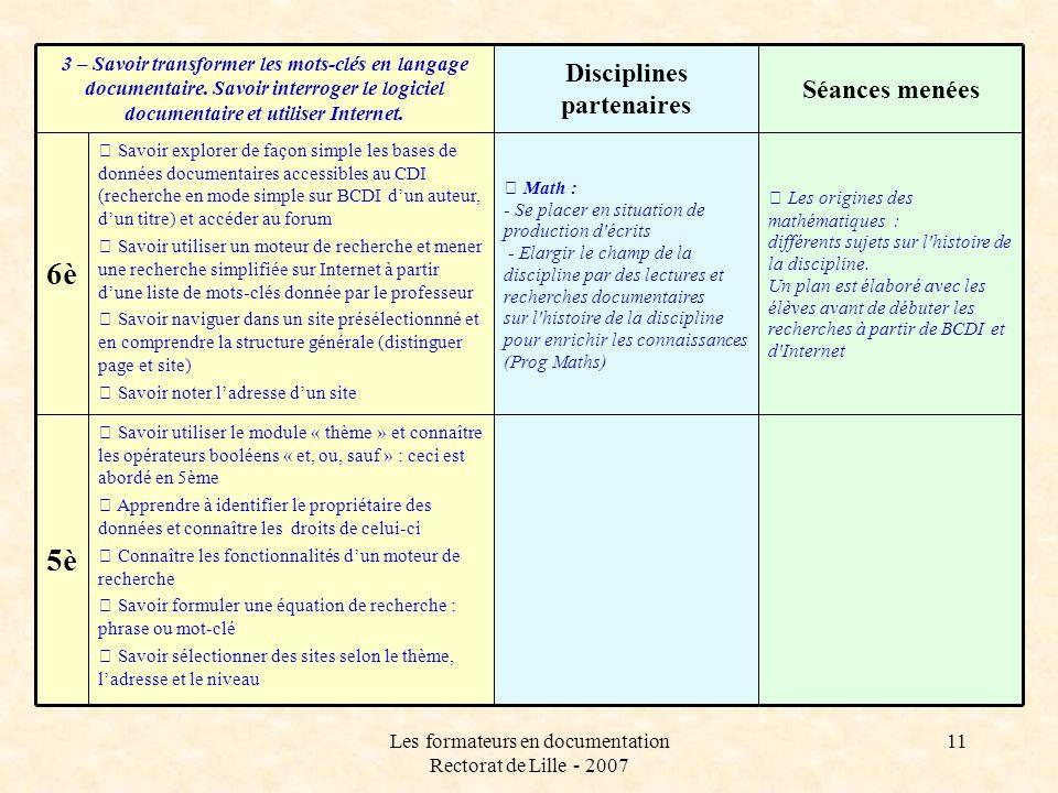 Les formateurs en documentation Rectorat de Lille - 2007 11 Les origines des mathématiques : différents sujets sur l'histoire de la discipline. Un pla