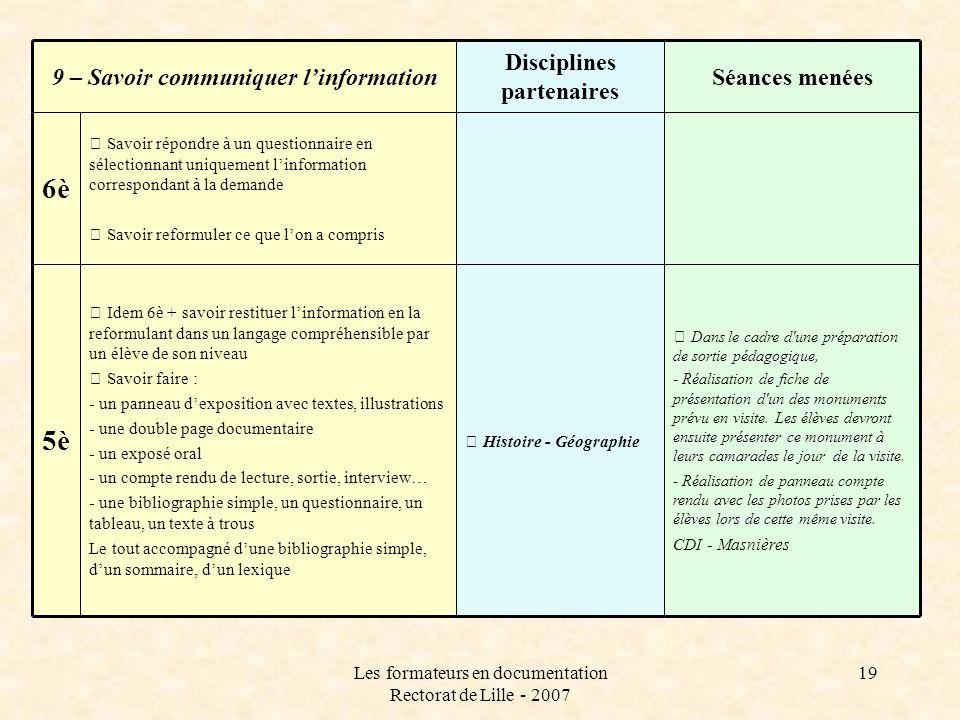 Les formateurs en documentation Rectorat de Lille - 2007 19  Savoir répondre à un questionnaire en sélectionnant uniquement linformation correspondan