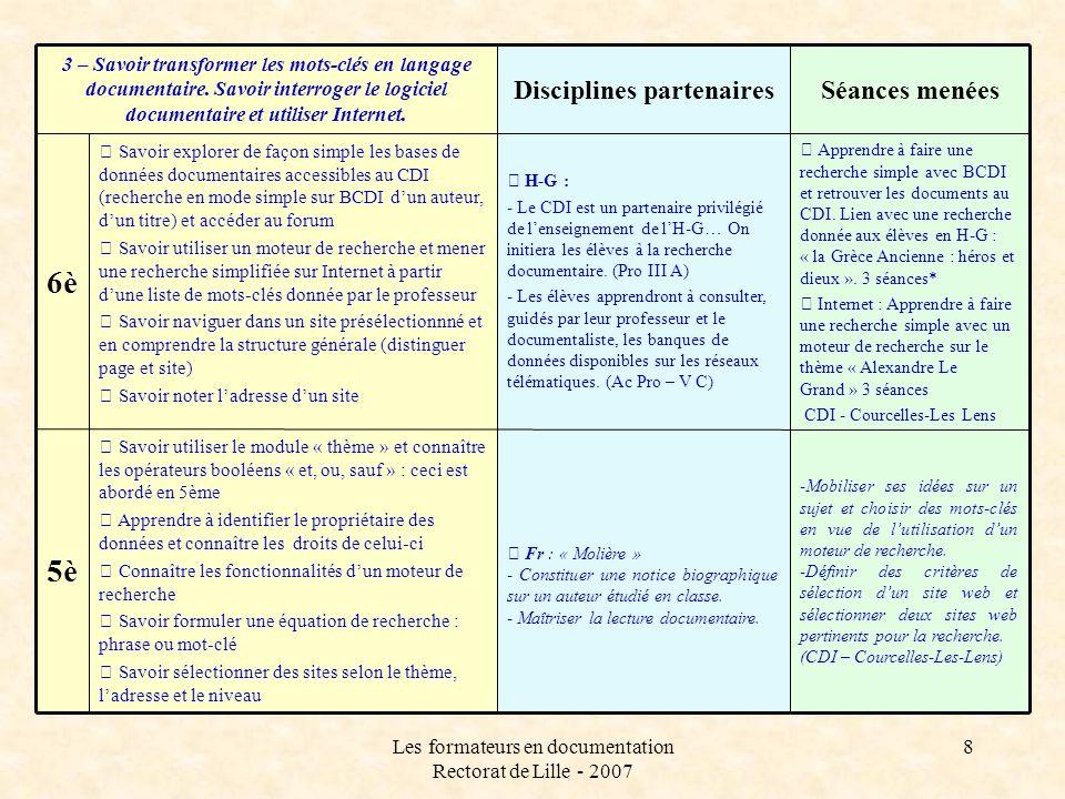 Les formateurs en documentation Rectorat de Lille - 2007 8 Apprendre à faire une recherche simple avec BCDI et retrouver les documents au CDI. Lien av