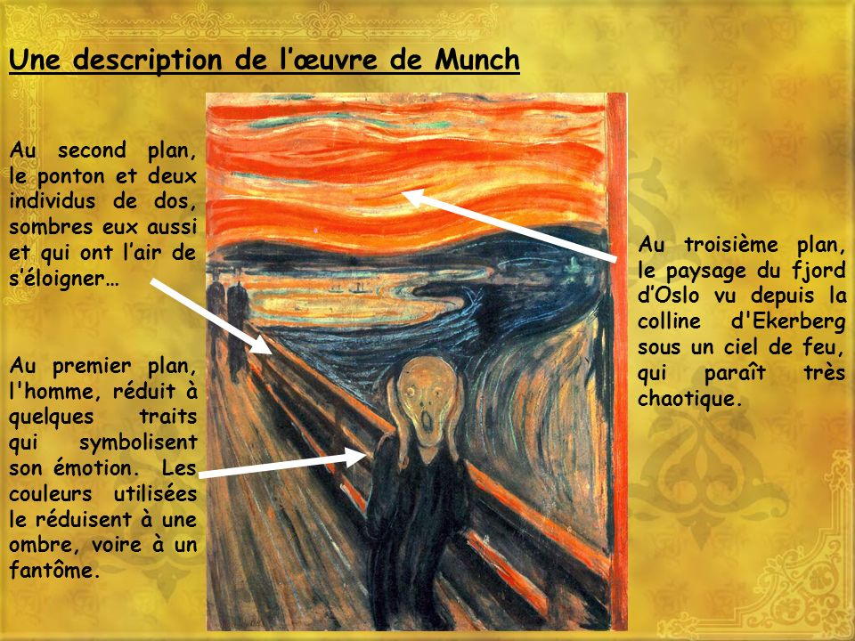 Une analyse de lœuvre de Munch Les couleurs sont très contrastées, chaudes pour le ciel et froides pour le fjord, pour renforcer la tension….