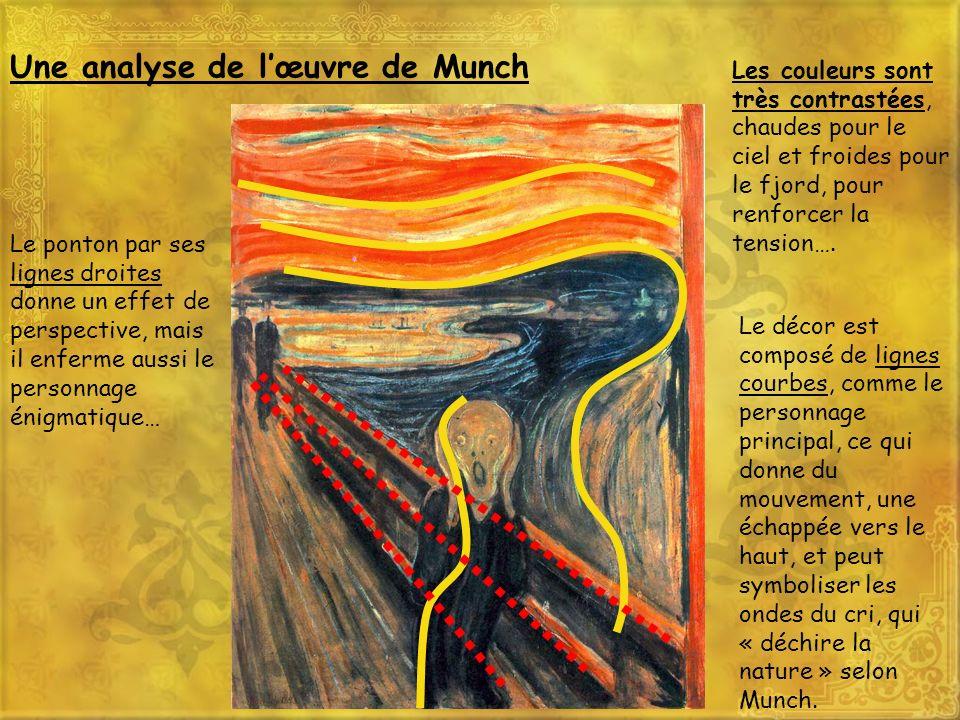 Une analyse de lœuvre de Munch Les couleurs sont très contrastées, chaudes pour le ciel et froides pour le fjord, pour renforcer la tension…. Le ponto