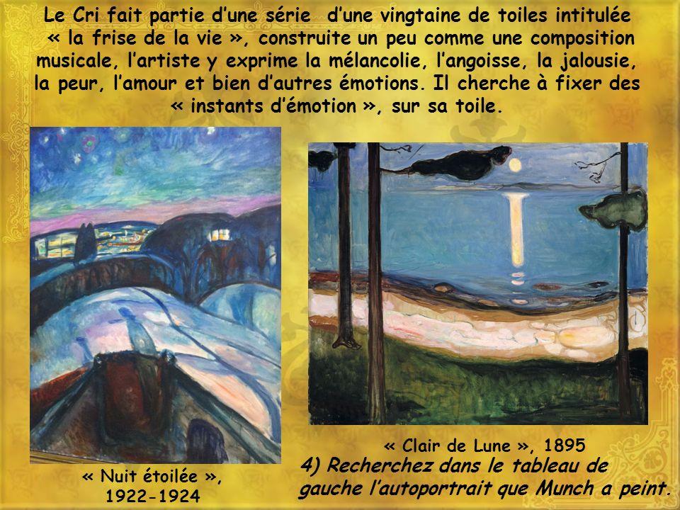 Le Cri fait partie dune série dune vingtaine de toiles intitulée « la frise de la vie », construite un peu comme une composition musicale, lartiste y