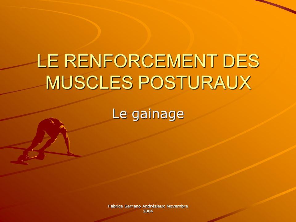 Fabrice Serrano Andrézieux Novembre 2004 LE RENFORCEMENT DES MUSCLES POSTURAUX Le gainage