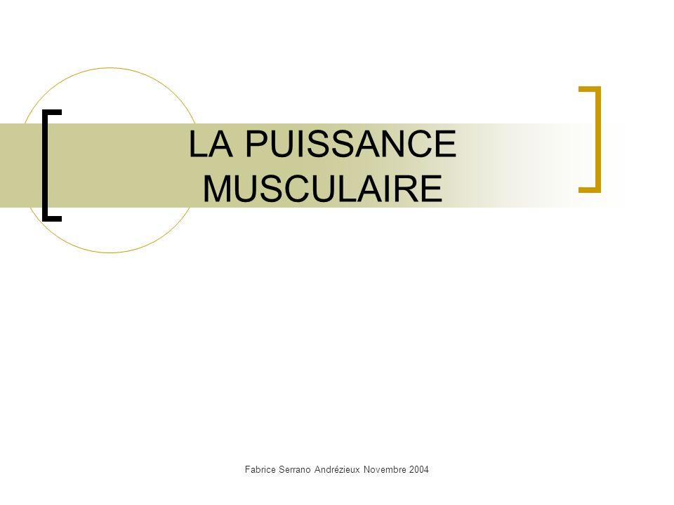 Fabrice Serrano Andrézieux Novembre 2004 LA PUISSANCE MUSCULAIRE