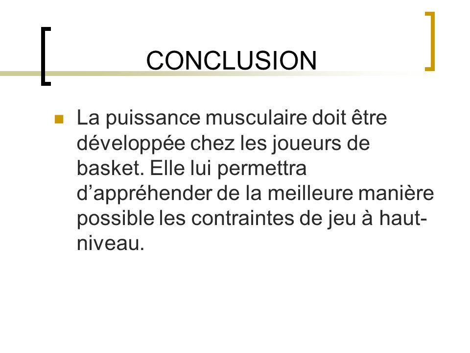 CONCLUSION La puissance musculaire doit être développée chez les joueurs de basket. Elle lui permettra dappréhender de la meilleure manière possible l