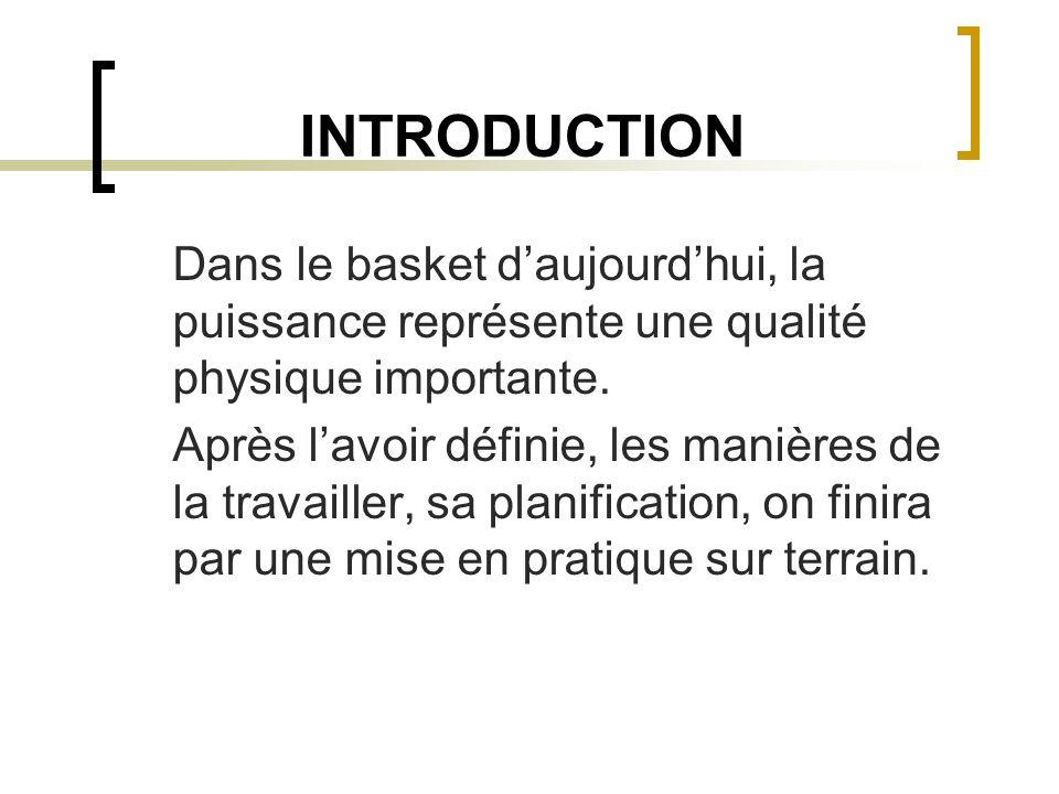 INTRODUCTION Dans le basket daujourdhui, la puissance représente une qualité physique importante. Après lavoir définie, les manières de la travailler,