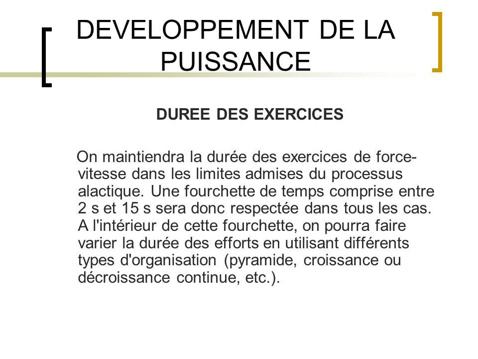 DEVELOPPEMENT DE LA PUISSANCE DUREE DES EXERCICES On maintiendra la durée des exercices de force- vitesse dans les limites admises du processus alacti