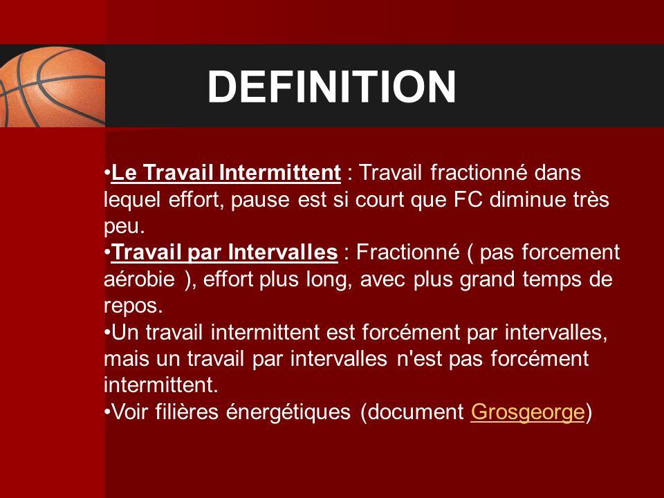 DEFINITION Le Travail Intermittent : Travail fractionné dans lequel effort, pause est si court que FC diminue très peu. Travail par Intervalles : Frac