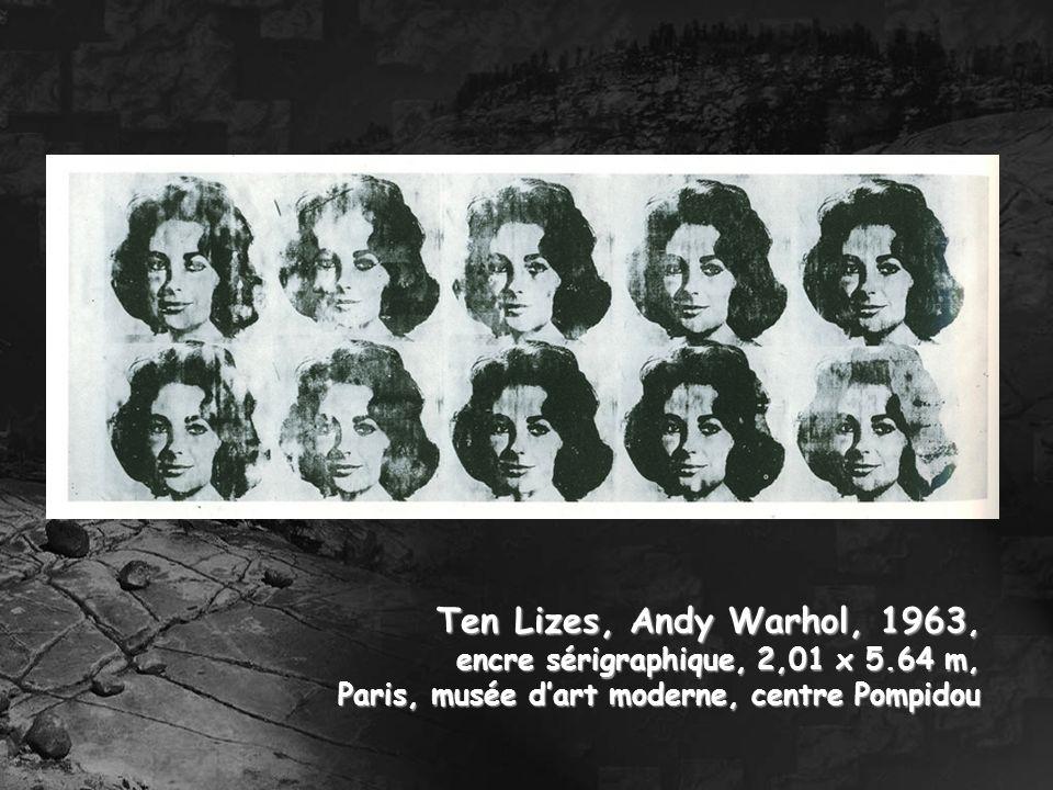 Ten Lizes, Andy Warhol, 1963, encre sérigraphique, 2,01 x 5.64 m, Paris, musée dart moderne, centre Pompidou