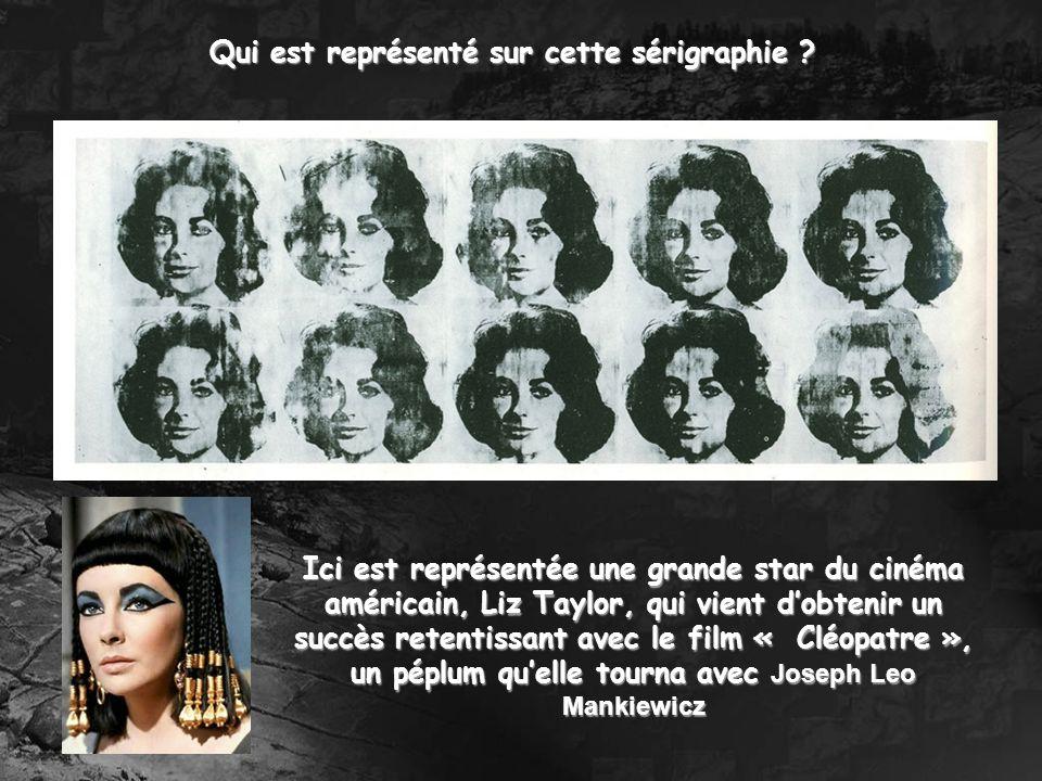 Ici est représentée une grande star du cinéma américain, Liz Taylor, qui vient dobtenir un succès retentissant avec le film « Cléopatre », un péplum q