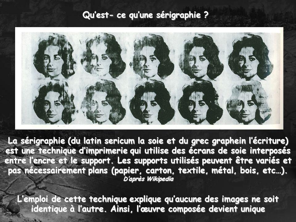 Quest- ce quune sérigraphie ? La sérigraphie (du latin sericum la soie et du grec graphein lécriture) est une technique dimprimerie qui utilise des éc