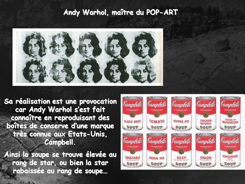 Andy Warhol, maître du POP-ART Sa réalisation est une provocation car Andy Warhol sest fait connaître en reproduisant des boîtes de conserve dune marq