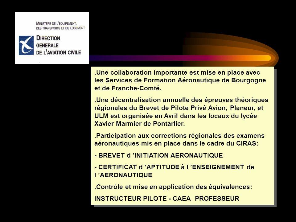 .Une collaboration importante est mise en place avec les Services de Formation Aéronautique de Bourgogne et de Franche-Comté..Une décentralisation ann