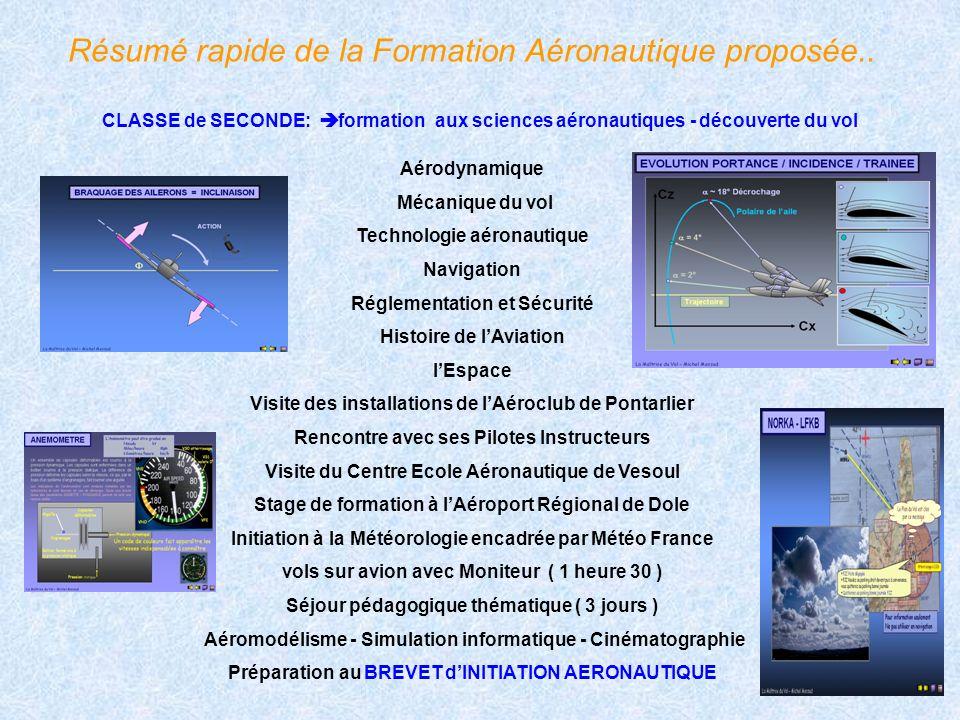 Résumé rapide de la Formation Aéronautique proposée.. CLASSE de SECONDE: formation aux sciences aéronautiques - découverte du vol Aérodynamique Mécani