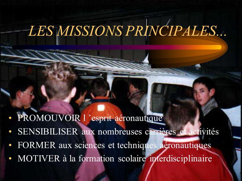 LES MISSIONS PRINCIPALES... PROMOUVOIR l esprit aéronautique SENSIBILISER aux nombreuses carrières et activités FORMER aux sciences et techniques aéro