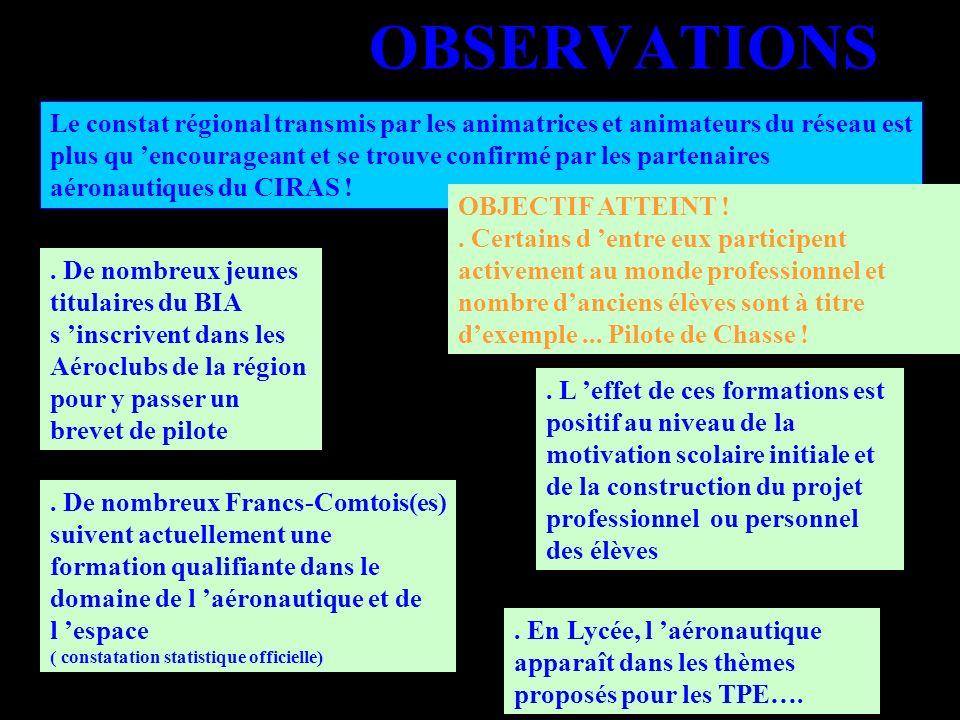 OBSERVATIONS Le constat régional transmis par les animatrices et animateurs du réseau est plus qu encourageant et se trouve confirmé par les partenair