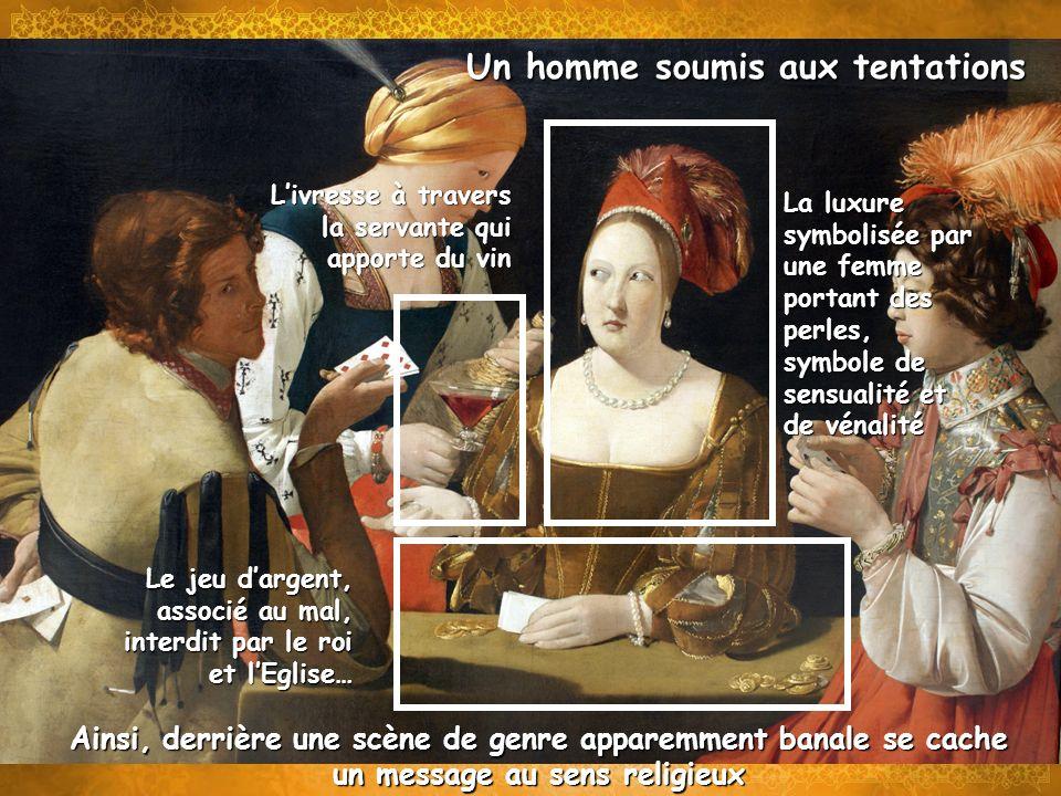 Un homme soumis aux tentations La luxure symbolisée par une femme portant des perles, symbole de sensualité et de vénalité Livresse à travers la serva