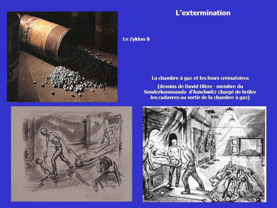 Lextermination Le Zyklon B La chambre à gaz et les fours crématoires (dessins de David Olère - membre du Sonderkommando dAuschwitz chargé de brûler le