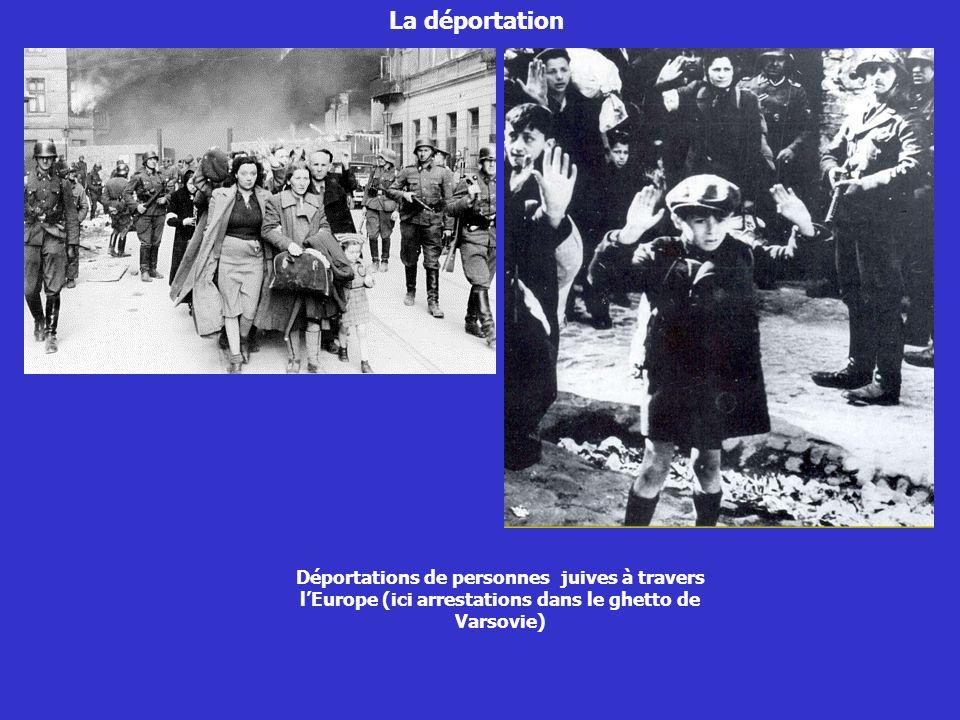La déportation Déportations de personnes juives à travers lEurope (ici arrestations dans le ghetto de Varsovie)