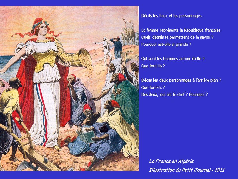 Décris les lieux et les personnages. La femme représente la République française. Quels détails te permettent de le savoir ? Pourquoi est-elle si gran