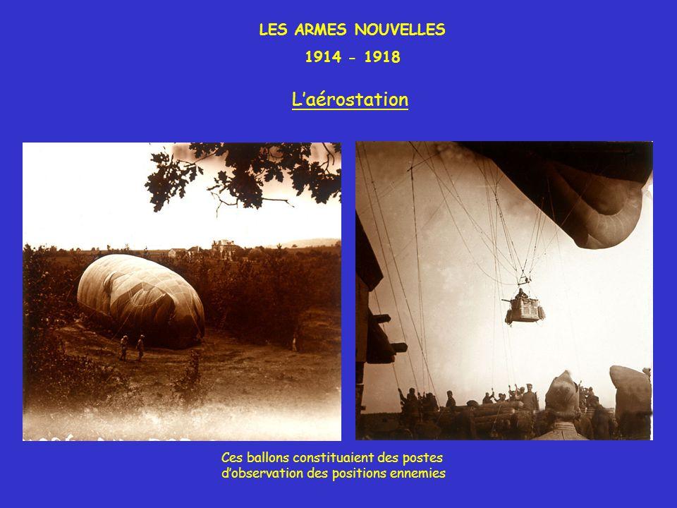 LES ARMES NOUVELLES 1914 - 1918 Laérostation Ces ballons constituaient des postes dobservation des positions ennemies