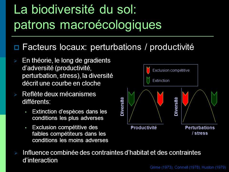Facteurs locaux: perturbations / productivité Productivité Diversité Perturbations / stress Diversité Exclusion compétitive Extinction En théorie, le