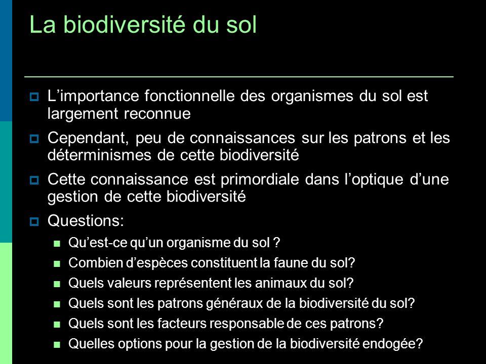 La biodiversité du sol Limportance fonctionnelle des organismes du sol est largement reconnue Cependant, peu de connaissances sur les patrons et les d
