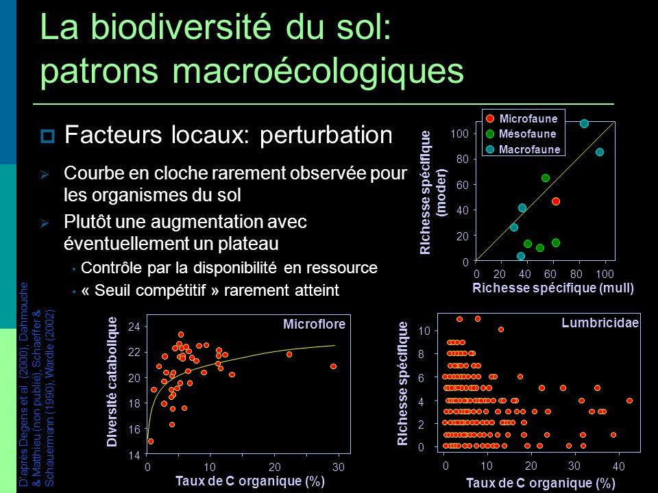 Facteurs locaux: perturbations / productivité 14 16 18 20 22 24 1020 Diversité catabolique Microflore 030 Taux de C organique (%) 0 20 40 60 80 100 40