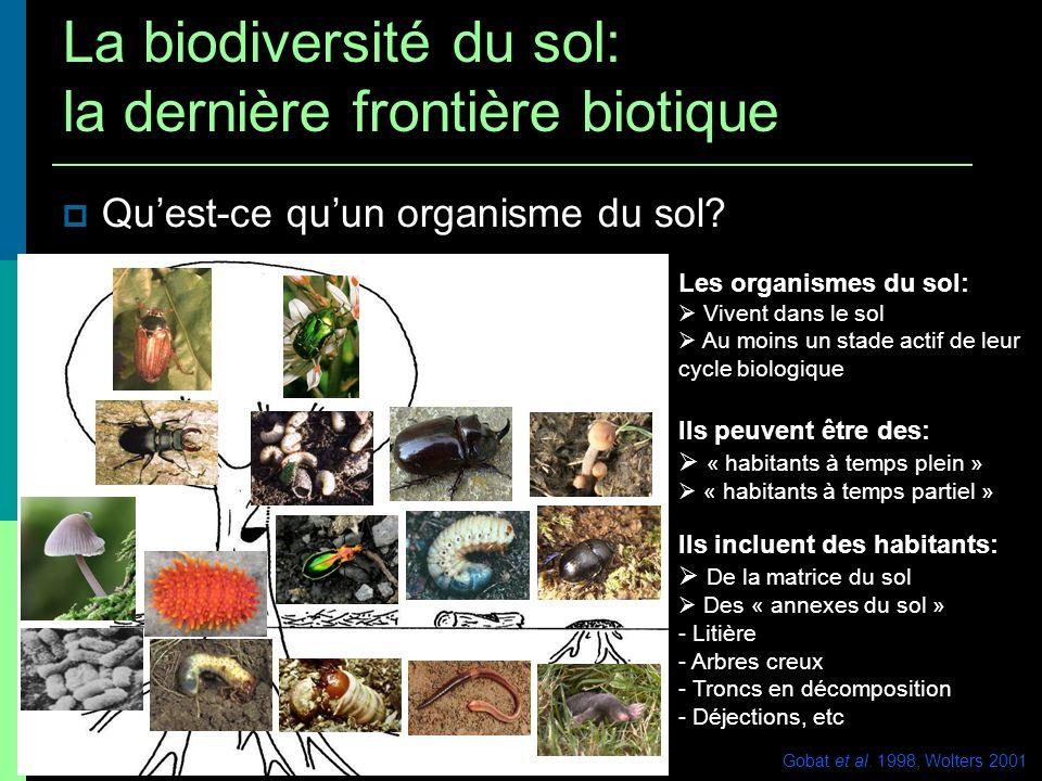 Facteurs locaux: interactions biotiques Daprès Decaëns et al.