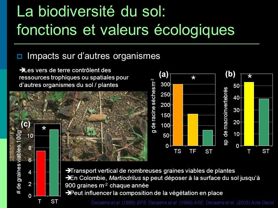 Impacts sur dautres organismes Les vers de terre contrôlent des ressources trophiques ou spatiales pour dautres organismes du sol / plantes Transport