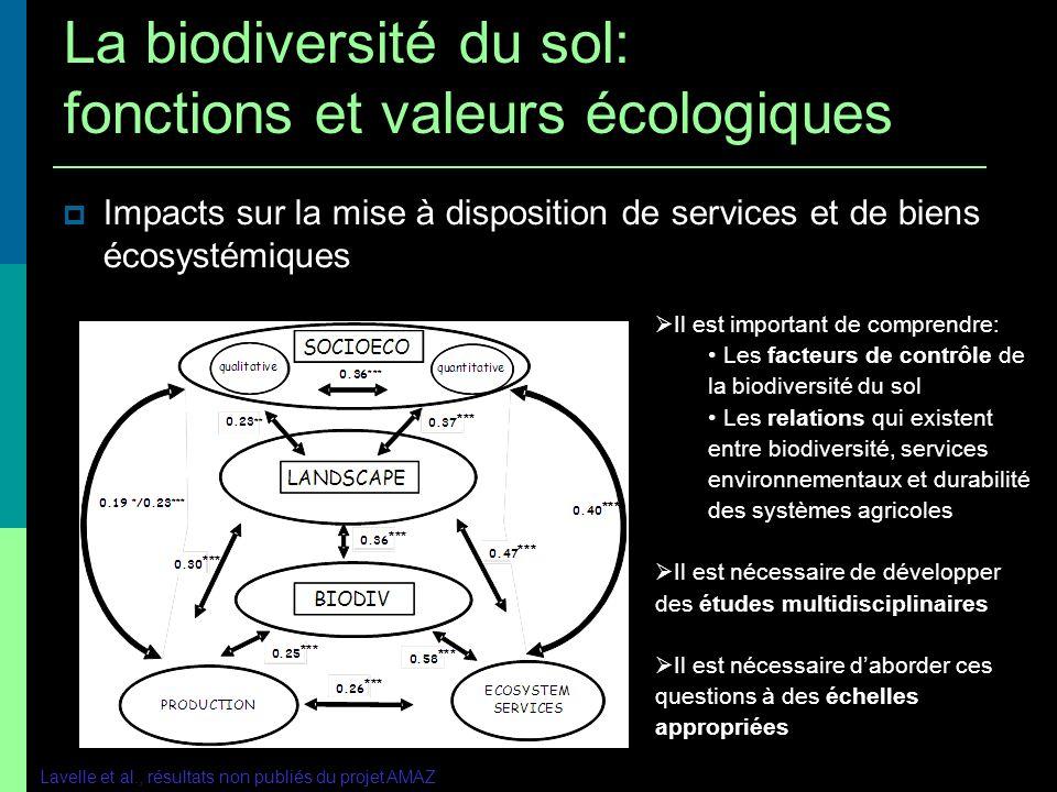 Impacts sur la mise à disposition de services et de biens écosystémiques Lavelle et al., résultats non publiés du projet AMAZ Il est important de comp