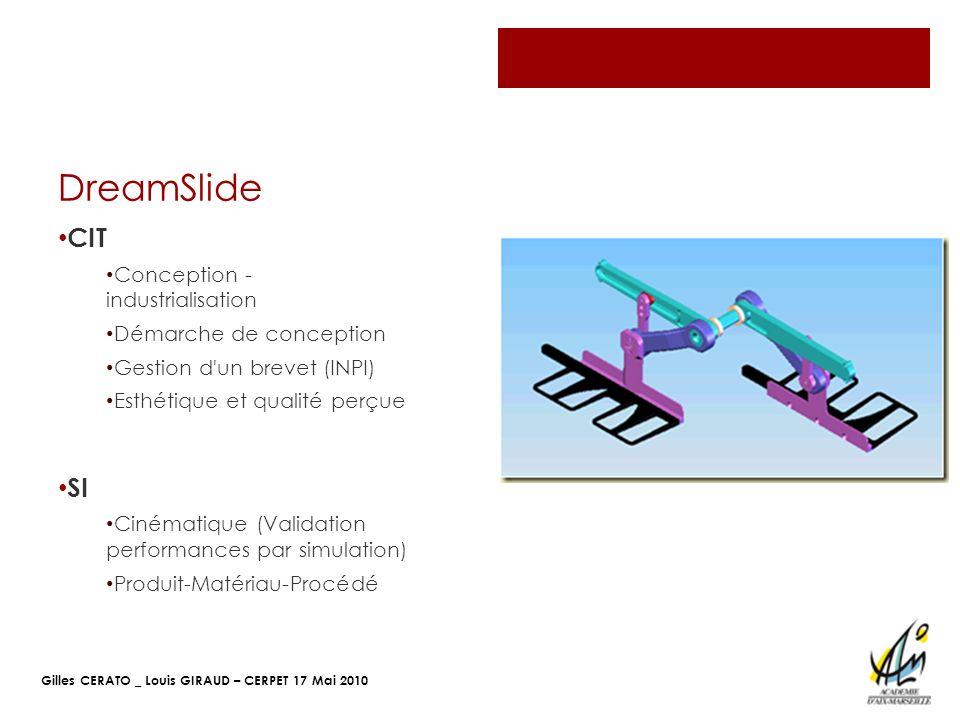 Gilles CERATO _ Louis GIRAUD – CERPET 17 Mai 2010 DreamSlide CIT Conception - industrialisation Démarche de conception Gestion d'un brevet (INPI) Esth
