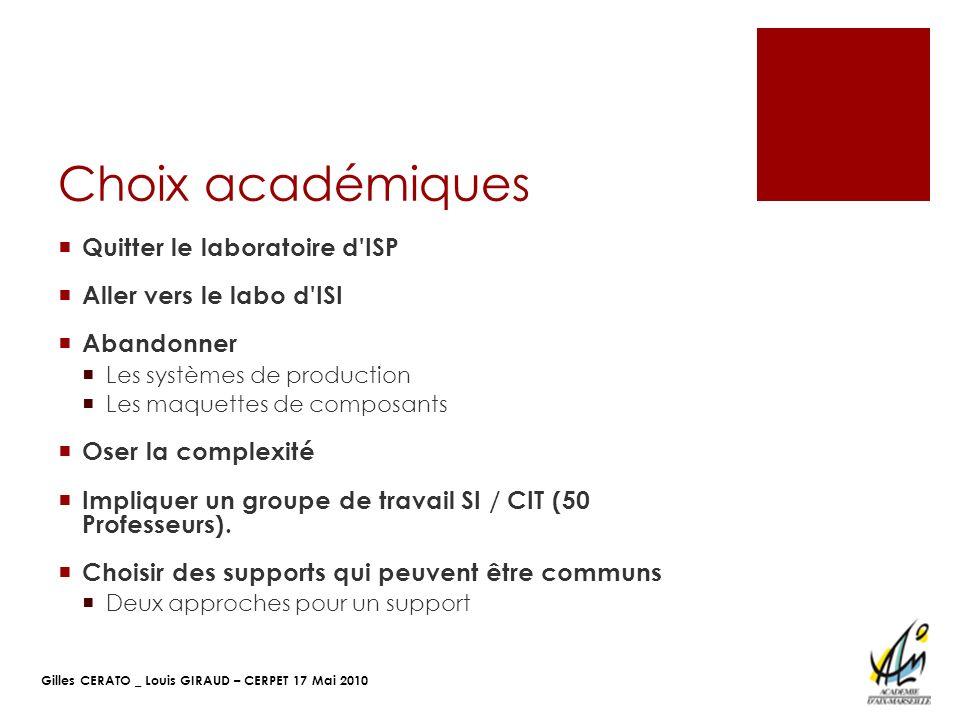Gilles CERATO _ Louis GIRAUD – CERPET 17 Mai 2010 Choix académiques Quitter le laboratoire d'ISP Aller vers le labo d'ISI Abandonner Les systèmes de p