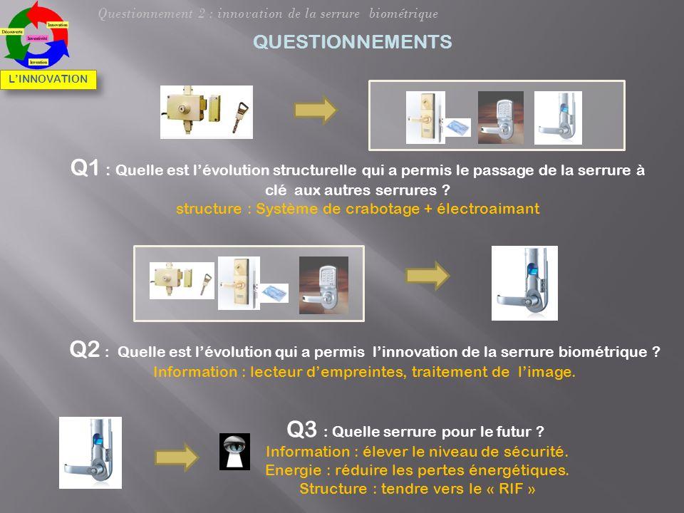 Q1 : Quelle est lévolution structurelle qui a permis le passage de la serrure à clé aux autres serrures ? structure : Système de crabotage + électroai