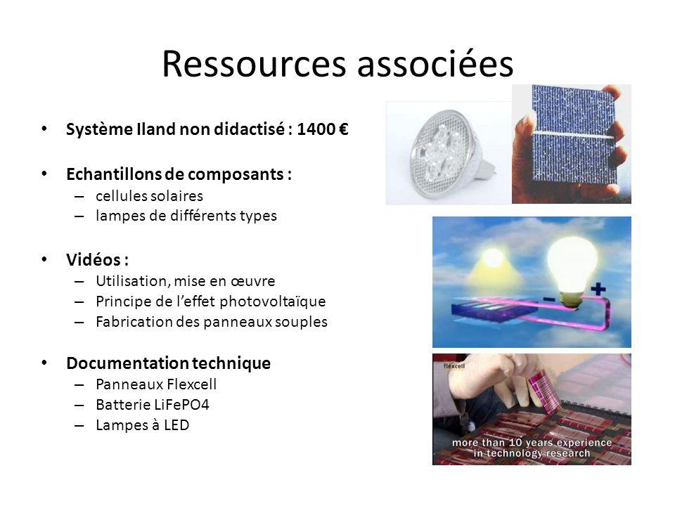Ressources associées Système Iland non didactisé : 1400 Echantillons de composants : – cellules solaires – lampes de différents types Vidéos : – Utili