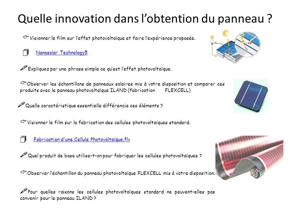 Quelle innovation dans lobtention du panneau ? Visionner le film sur leffet photovoltaïque et faire lexpérience proposée. Nanosolar Technology5 Nanoso