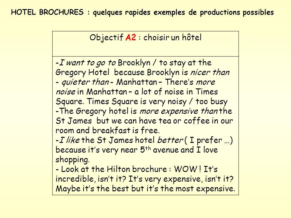 A2 – voire B1 : selon le niveau de langue … = voir document/word Présenter 3 brochures / hôtels aux élèves ( Un exemple photocopié vous est distribué