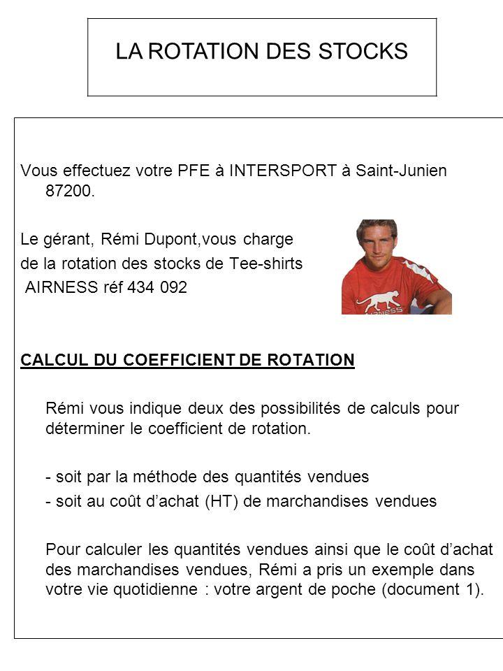 Vous effectuez votre PFE à INTERSPORT à Saint-Junien 87200. Le gérant, Rémi Dupont,vous charge de la rotation des stocks de Tee-shirts AIRNESS réf 434
